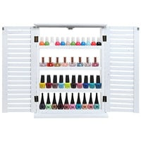 MyGift® White Wood Window & Shutter Design Nail Polish Rack for Wall / Salon Display Stand with 4 Shelves