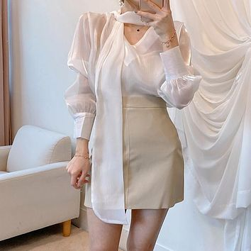 Office Lady Blouse Elegant Korean Chic All-Match Solid Lace Up Solid Loose Thin Long Sleeve Women Shirts Fashion