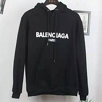 Balenciaga 2019 new wild cotton loose hooded sweater Black
