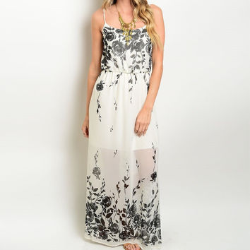 Rose Print Side Slit Maxi Dress in Cream and Black