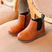 Martin Boys Boots Kids Girls Shoes Brand Leather Fashion Girls Boots Zipper Soft Casual Autumn Winter Children Shoes Size 21-36