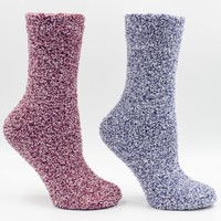 Women's Non-Skid Warm Soft and Fuzzy Eucalyptus Mint and Shea Butter Infused 2-Pair Pack Heather Slipper Socks With Sach