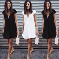 Women's Trending Popular Fashion 2016 Summer V Neck Solid Casual Party Playsuit Bodycon Boho Dress  _ 3728