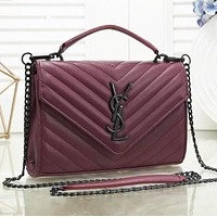 YSL Yves Saint Laurent Fashion Women Shopping Leather Crossbody Shoulder Bag Satchel Burgundy