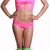 Pink (Neon) Wet Look Torn Apart Rave 2016 Outfit Set