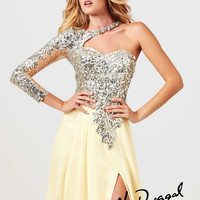 One Long Sleeve Sheer Illusion And Beaded Formal Prom Dress Mac Duggal 85307M