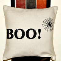 Throw pillows- Boo pillow -Felt pillow -Sequin bead pillow - Spider pillow- Halloween themed decorative couch pillows - 16x16 -black pillow