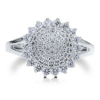 Sterling Silver 925 Sunflower Micro Pave Cubic Zirconia Fashion Ring #r493