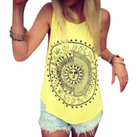 Newly Design Women's Fashoin Sun Moon Letter Printed Sleeveless Tank Top Shirt Summer 160526