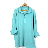 Aqua Blue 90s Pullover Baja Sweater Washed Out Slouchy Cali Beach Sweatshirt Preppy Grunge Zip Up Boyfriend Pullover Mens Large