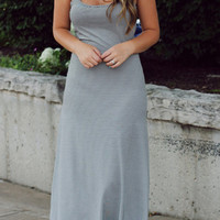 Grey Bow Backless Maxi Dress