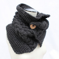 Charcoal Chunky Cowl, Knitted Button Cowl, Gray Neck Warmer, Chunky Knitted Scarf, Dark Gray Bulky Cowl, Knit Infinity Scarf,Bulky Knit Cowl