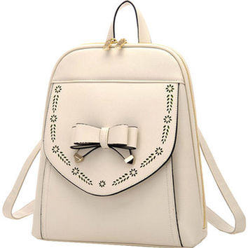 Cream Bowknot PU Leather Backpack