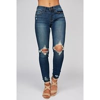 Skylar Distressed Skinny Jeans (Dark Wash)