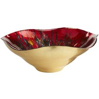 Red & Gold Foil Wavy Bowl