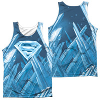 SUPERMAN/SOLITUDE-ADULT 100% POLY TANK TOP-WHITE