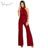 Young17 High Neck Jumpsuit With Ruffle Front Detail Rompers Womens Jumpsuit Long Pants Red Sleeveless Wide Leg Women's Jumpsuits