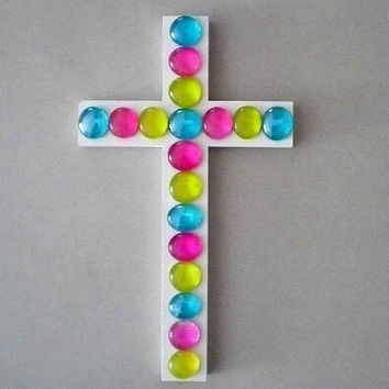 "MULTI COLOR Glass Gem Wall Cross-Decorative Cross Handpainted White w/ Bright Pink, Aqua and Citron Glass Gems - 9.5"" x 5.5"""