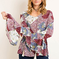 Printed Quilt Ruffled Sleeve Top