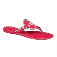 Georgica Jelly Sandal in Bright Pink and White by Jack Rogers