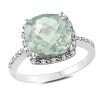 10.0mm Cushion-Cut Green Quartz and 1/10 CT. T.W. Diamond Ring in Sterling Silver