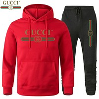 GUCCI Classic hot sale printed letter logo hooded sweatshirt trousers two-piece suit