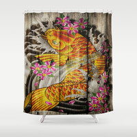 vintage japanese tattoo koi fish wood grain texture fashion art Shower Curtain by Chicelegantboutique