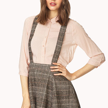 FOREVER 21 Crisp Plaid Overall Skirt Taupe/Black Large