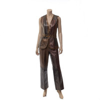 Vintage 60s 70s Patchwork Leather Vest and Pants 1960s 1970s Mod Carnaby Street Spy Hipster Hippie Boho Jacket Gilet Pantsuit