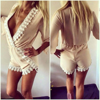 Apricot Plunging Contrast Lace Trimmed Romper
