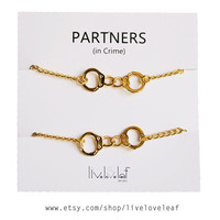 Set of Gold Handcuffs bracelets Best friends aka Partners in crime Bracelets - gold tone Handcuffs handcuff charm bracelet, BFF jewelry Bffs