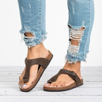 Thong Brown Footbed Sandals