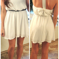 Bows Back Dress in White from Monica's Closet Essentials