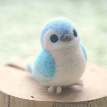 Handmade bird figurine, needle felted bird doll, Blushing bird collection - blue color, home decor ornament, gift under 30