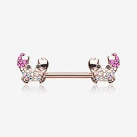 A Pair of Rose Gold Adorable Fiddler Crab Sparkle Nipple Barbell