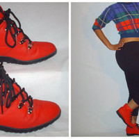 Vintage 1980s Red Snow Boots
