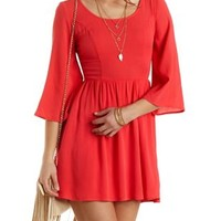 Crocheted Cross-Back Babydoll Dress by Charlotte Russe