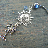 palm tree and sun belly ring  summer beach vacation memories  cruise wear boho belly dancer gypsy and hipster style