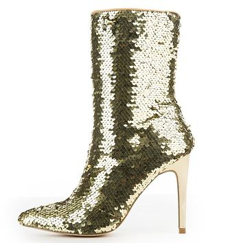 """CR Gold Sequin Pointy Toe Ankle Boot Full Side Zipper 4"""" High Heels 6-11"""