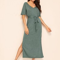 V Neck M-slit Hem Belted T-Shirt Dress