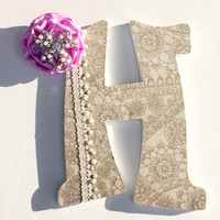 Baby Girl Nursery Letters - Lace and Pearl Letter -Shabby Chic - Country Wedding Decor - Monogram - Personalized - Name