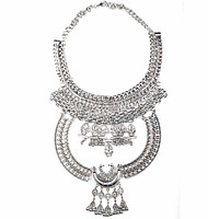 European Big Brand Fashionable Necklace Woman Long Necklace Street Photo Fashionable Ornament   silver