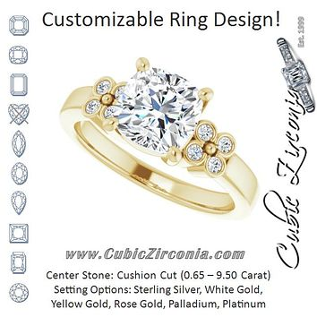 Cubic Zirconia Engagement Ring- The Heidi Grethe (Customizable 9-stone Design with Cushion Cut Center and Complementary Quad Bezel-Accent Sets)