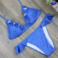 strapless  bikinis set women cowboy  swimwear Blue swimsuit
