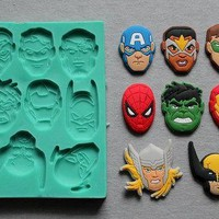 Batman Dark Knight gift Christmas Superman Spiderman Batman silicone fandont mold Silica gel moulds  Chocolate molds candy mould silicone molds  cake decorations AT_71_6