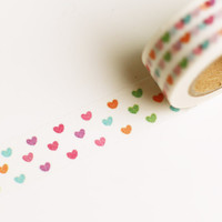 Cute Colorful Hearts Washi Tape - 10m - Perfect for planning, journaling, scrapbooking