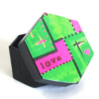 Mini Hexagonal Box in black with decoupaged lid abstract love art neon green and hot pink colored lid, trinket box