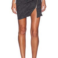 The Kooples Ruched Zipper Mini Skirt in Gray