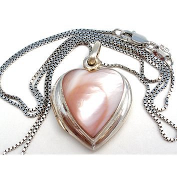 """Pink Mother of Pearl Locket Necklace 18"""""""