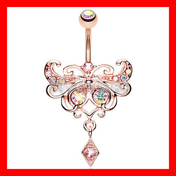 Rose Gold 14g Belly Ring Butterfly Glorieux Belly Button Ring Navel Jewelry Navel Ring Belly Button Belly Piercing Navel Piercing Pink